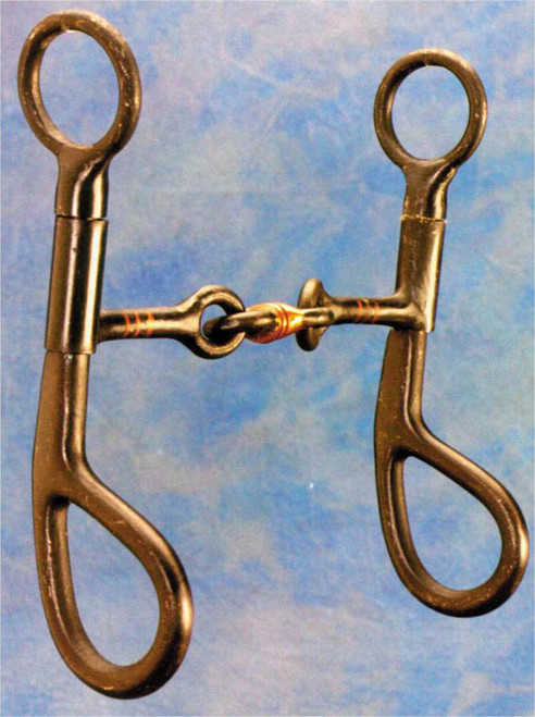 "6"" black steel cheeks with 5"" copper 3 Piece snaffle mouth."