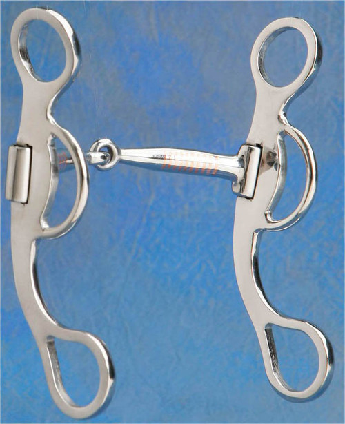 "A great looking cheeked snaffle with patented brushed steel ""Never Tarnish"" finish w/ 6 1/2"" cheek 5"" snaffle mouth. A great transition bit or for everyday riding. Low to moderate leverage."