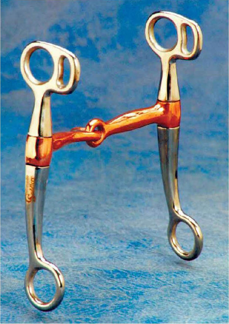 """This bit has it all! 6 1/2"""" stainless steel 4 rein cheeks. Sweet iron mouth inlaid with copper and long barrel """"No Pinch"""" where mouth attaches to cheek."""
