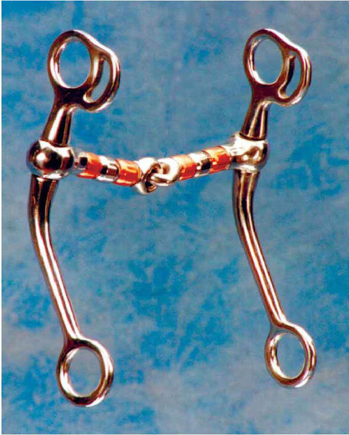"""This is a good transition bit for going from a snaffle to a curb. It has a 5"""" mouth with a 6 1/2"""" shank. The copper rollers help calm a horse and will help keep the mouth moist. It has low to moderate leverage and can be used as an everyday bit. 7"""" stainless steel cheeks, 5"""" mouth with steel and copper rollers"""