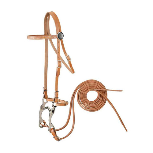 "Made of high quality harness leather Single ply Complete with bit, curb strap and 7' harness leather reins Nickel plated hardware and buckle bit ends Nickel plated grazing bit with 4"" mouth"