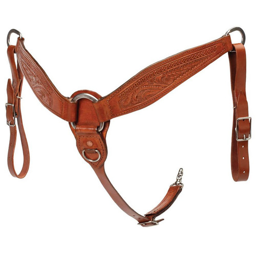 A breast collar with a unique look! Heavy skirting leather with stainless steel hardware. Designed as a reining collar but will work great as an all around breast collar.