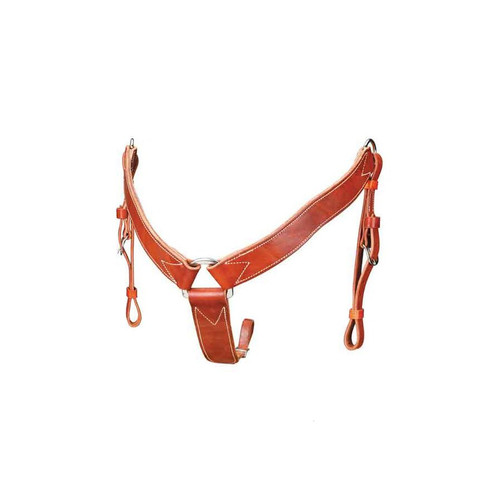 """A beautiful breast collar made from the finest Mahogany Saddle Skirting Leather! 2"""" wide with tapered tie down strap. This breast collar matches our Mahogany saddles."""