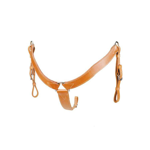 """Heavy, double and stitched saddle leather, leather lined. 2"""" wide with tie down strap tapered from 2"""" to 3/4"""". Stainless steel center dee, nickel plate side dees. Hand oiled to our beautiful Colorado Gold Color."""