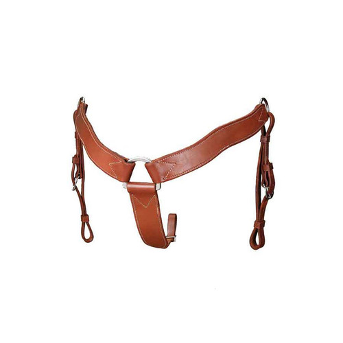 """Heavy, double and stitched saddle leather, leather lined. 2"""" wide with tie down strap tapered from 2"""" to 3/4"""". Stainless steel center dee, nickel plate side dees. Hand oiled to our beautiful rich Colorado Oiled Color."""