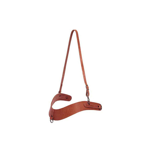 """Shaped body of heavy harness leather. 3 1/4"""" tapered to 2 1/4"""", 5/8' neck strap, nickel plated dees."""