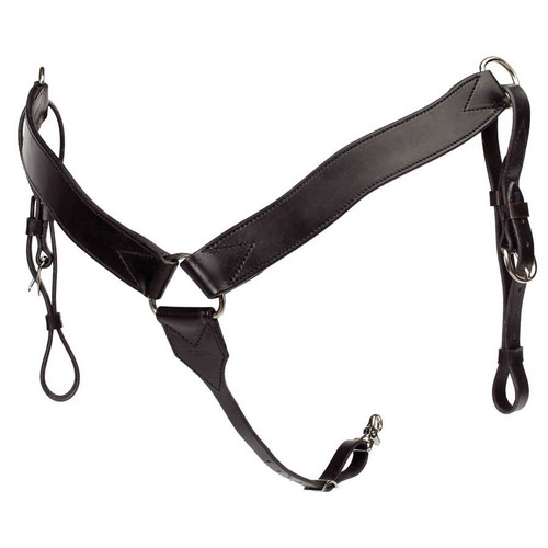 "This breast collar is made from the highest quality leather available. It is designed to work well under any kind of riding. 2"" wide with tie down strap tapered from 2"" to 3/4"". Stainless steel center dee, nickel plate side dees."