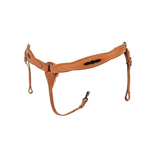 """Double and stitched saddle leather, leather lined. 2"""" wide with tie down strap tapered from 2"""" to 3/4"""". Nickel plated dees. Inlaid with chocolate brown leather."""