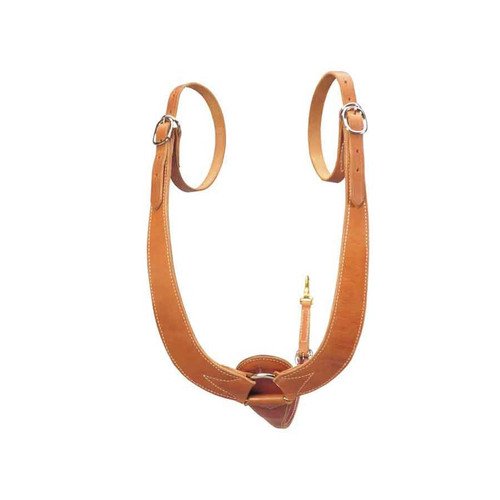 "This is the breast collar everyone has been asking for, it fits the natural curve of the animal's shoulder. The tug straps loop through the gullet of the saddle and then buckle back to the collar. Heavy, double and stitched skirting. 2 1/4"" wide shoulder straps with 27"" long tug straps. 3"" nickel plated chest ring with 4"" to 3/4"" tapered tie down strap. Brass snap for cincha."