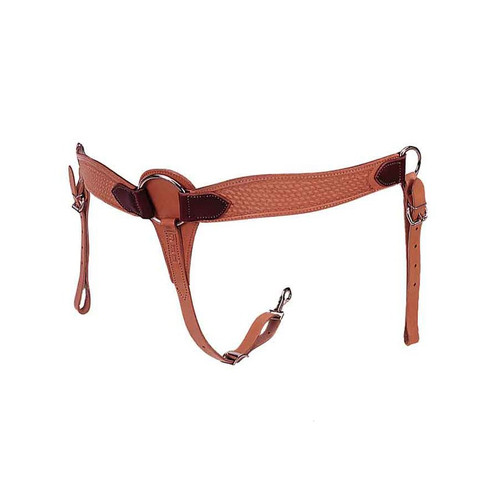 """Double and stitched strap leather. 2"""" wide at rings, 2 3/4"""" at pull area. 1"""" tie down strap, nickel plated dees."""