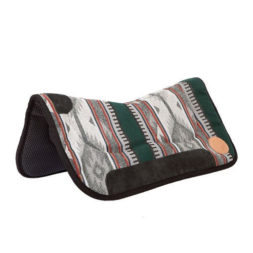 "This beautiful saddle pad is constructed to meet the most exacting horse person's standards. Waffled neoprene bottom means easy cleaning. The top is made of a high quality, heavy woven fabric designed to stand up to everyday use without losing color or fraying, with specially designed bar pads for extra comfort for the horse. This pad looks good in the show ring, on the trail or in the arena. 30"" Wide x 32"" long"