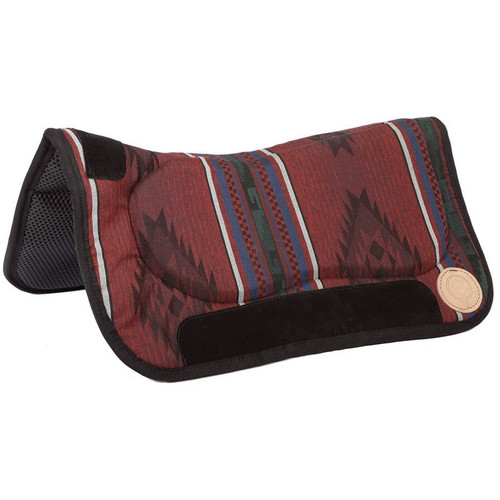 """This beautiful saddle pad is constructed to meet the most exacting horse person's standards. Waffled neoprene bottom means easy cleaning. The top is made of a high quality, heavy woven fabric designed to stand up to everyday use without losing color or fraying, with specially designed bar pads for extra comfort for the horse. This pad looks good in the show ring, on the trail or in the arena. 30"""" Wide x 32"""" long"""
