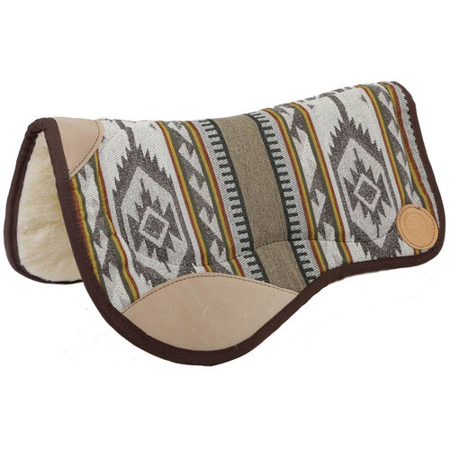 """This saddle pad is designed to be used with todays cut out, drop rigged saddles. Contoured to fit the horse's back, they have white acylic fleece bottom, heavy woven fabric top designed to hold up to heavy use without fraying or fading. Specially designed bar pads for extra comfort for the horse. 36"""" Wide at front - Contoured to 28"""" wide at back x 30"""" long"""