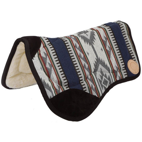 "This saddle pad is designed to be used with todays cut out, drop rigged saddles. Contoured to fit the horse's back, they have white acylic fleece bottom, heavy woven fabric top designed to hold up to heavy use without fraying or fading. Specially designed bar pads for extra comfort for the horse. 36"" Wide at front - Contoured to 28"" wide at back x 30"" long"