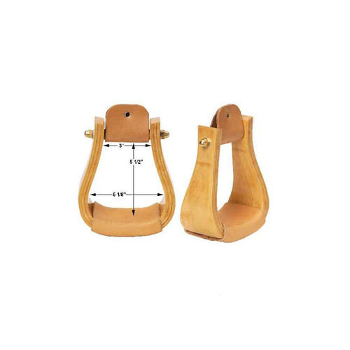 Great looking and very functional These wood stirrups have been tested under extreme conditions Heavy leather treads and rollers Brass bolt ends