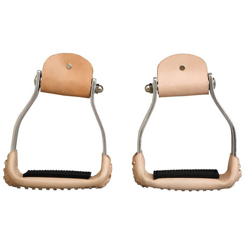 """These great new aluminum stirrups have a slanted bolt so that the stirrups stay flatter and make riding more comfortable. Rubber nonslip foot pad.  3"""" Neck 2 1/2"""" Tread   Imported"""