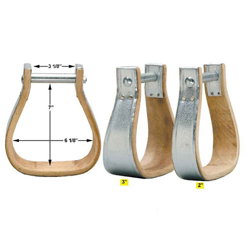 "These stirrups are made from good quality hardwood and then bound in galvanized metal for extra strength and durability Available in 2"" or 3"" Wide Foot Tread   Made in the U.S.A."