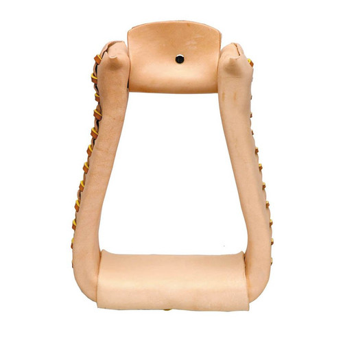 """High quality leather covered roper stirrups with high grade Ralide® core. 3"""" Tread Made in U.S.A."""