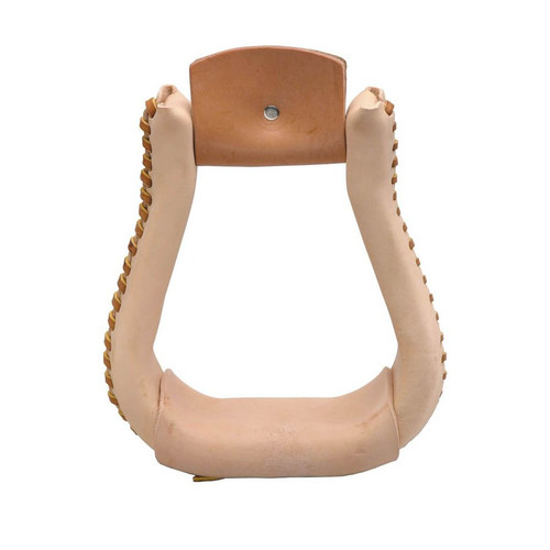 "High quality leather covered bell bottom stirrups with high grade Ralide® core. 2"" Tread  Made in U.S.A."