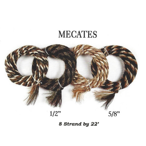 8 Strand X 22 foot Mane Hair Mecates in a variety of colors and patterns