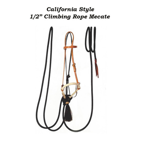 """California Style Hackamore with 1/2"""" Climbing Rope Mecate."""