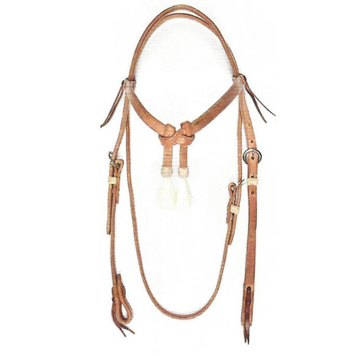 Hermann Oak Grade A Harness Leather Headstall with 2 Tassels on the Browband