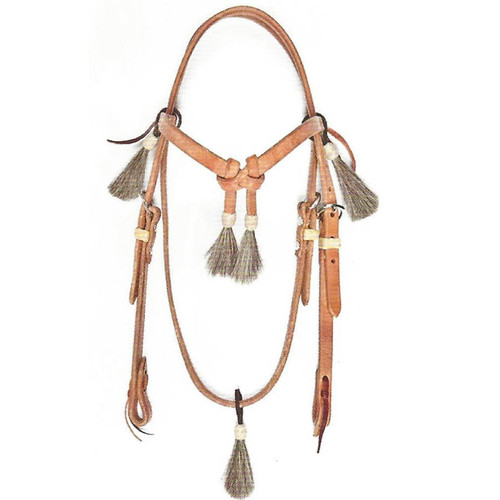 Hermann Oak Harness Leather Headstall for work or show with 3 Tassels