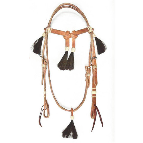 Elegant Hermann Oak Grade A Harness Leather Headstall with 5 Tassels for work or show