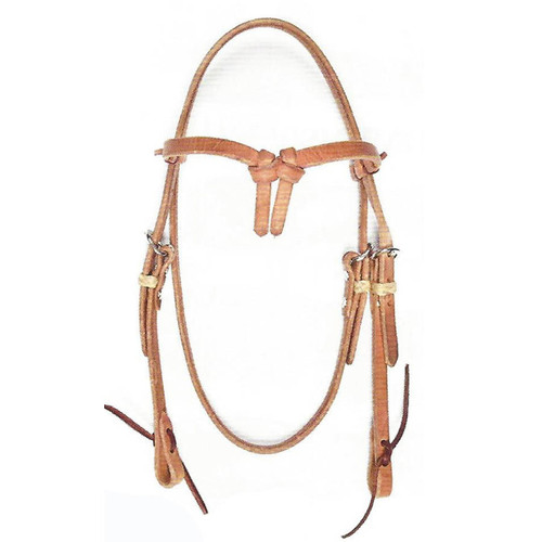 Extra Heavy Hermann Oak Grade A Harness Leather Headstall with Cowboy Knot Browband