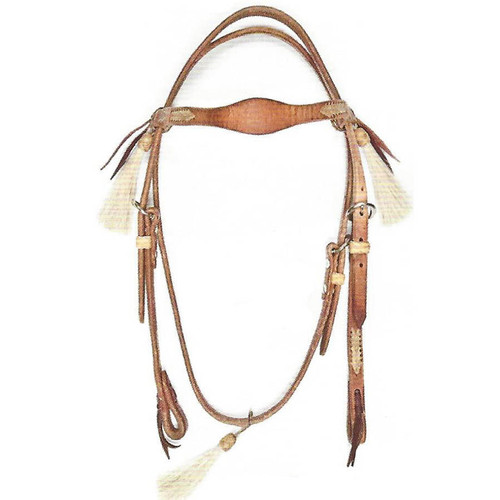 3 Tassel Harness Leather Headstall with Rawhide Lace