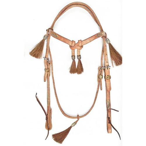 Classic Hermann Oak Harness Leather Headstall with Rawhide Lace & 5 Tassels