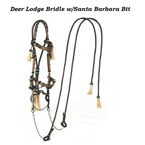 Beautiful Deer Lodge Bridle with Santa Barbara Bid and Twisted SS Wire Rein Chains. along with hitched horsehair Reins. A Real Collectors Piece.