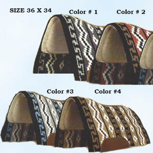"""MAYATEX - Inca Trail Woven Contour Pad. Made of 100% wool felt and 3/8"""" Elastomeric Foam; a non-porous material that will not permit mold, fungal or bacterial growth. An antimicrobial agent is applied to the Elastomeric Foam for added Protection. Top grain leather are included. Comes in four vibrant colors. Size 36"""" X 34""""."""