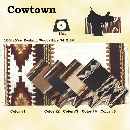 "Mayatex Quality. COWTOWN SADDLE BLANKET made of 100% New Zealand wool in five earth tone colors looks great on any horse.    Size 36"" X 34"""
