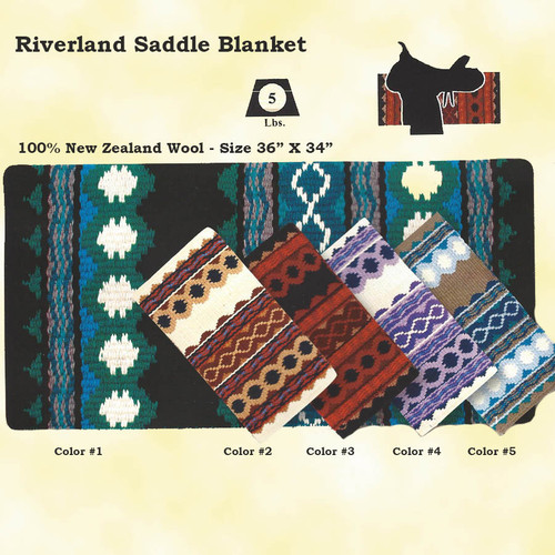 "Mayatex Quality - RIVERLAND SADDLE BLANKET made of 100% New Zealand Wool.  put a little bling under your saddle with five vibrant colors to choose from. Size 36"" X 34"""
