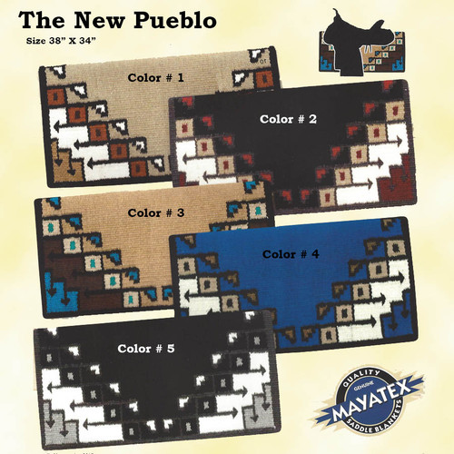 "Mayatex Quality - THE NEW PUEBLO SADDLE BLANKET made of 100% New Zealand Wool for comfort and years of wear.  Distinctive design look great for show or everyday use. Come in five vibrant colors.  Size 38"" X 34"""