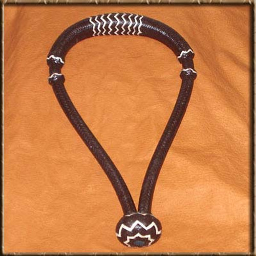 """5/8"""" Black Hackamore with White Accents.  16 Plait Cheeks and 24 Plait Nose Looks Great on a Lighter Colored Horse.  Order with either Soft or Firm Core for the feel you like."""