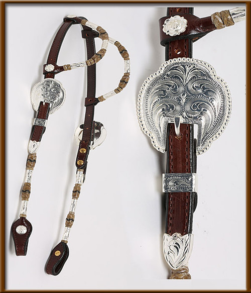 2-Ear Chocolate Headstall With Rolled Ears and Cheeks