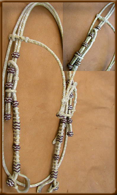 Classic Hand Braided Natural Rawhide with Chocolate Highlights will look great on any horse. Put it together with one of our Custom Bits, Chain Weights and Romal will make a beautiful setup.