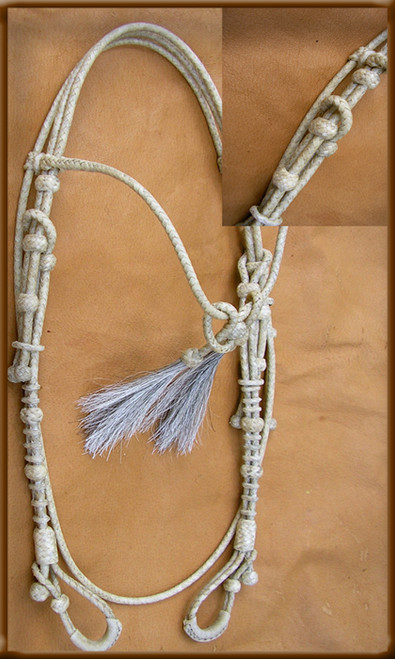 Hand Braided Natural Rawhide Headstall with Browband and Tassel gives you that classic beauty for work or the show ring.