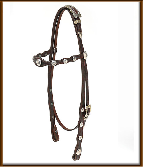 Classic Old Style Headstall with Buckle on Top with Brow Band.  Chocolate Brown  with Silver Conchos makes this headstall really stand out.