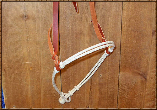 Hand Braided Natural Rawhide Adjustable Caveson with Latigo Hanger. Can be adjusted to three sizes for a perfect fit.