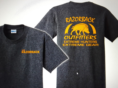 Team Razorback Outfitters Dark Heather Gray t-Shirt with Hunter Orange logos.