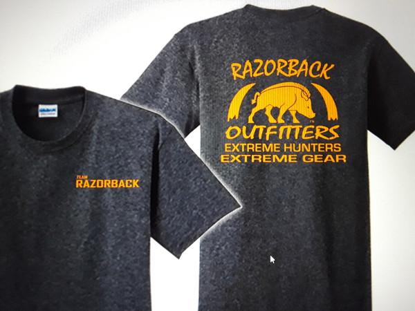 Team Razorback Outfitters Dark Heather Gray t-Shirt with Hunter Orange logos.