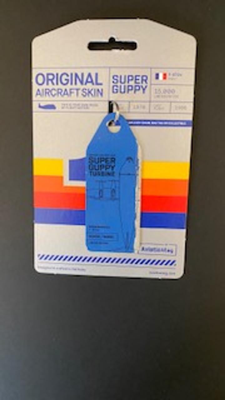 AviationTag Super Guppy Keychain - Split Blue - Silver (#3855)