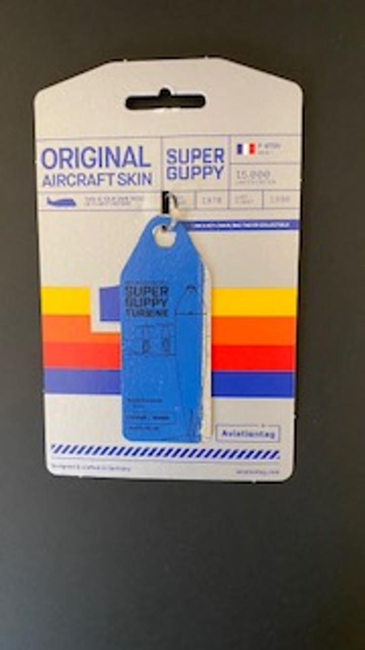 AviationTag Super Guppy Keychain - Split Blue - Silver (#3856)