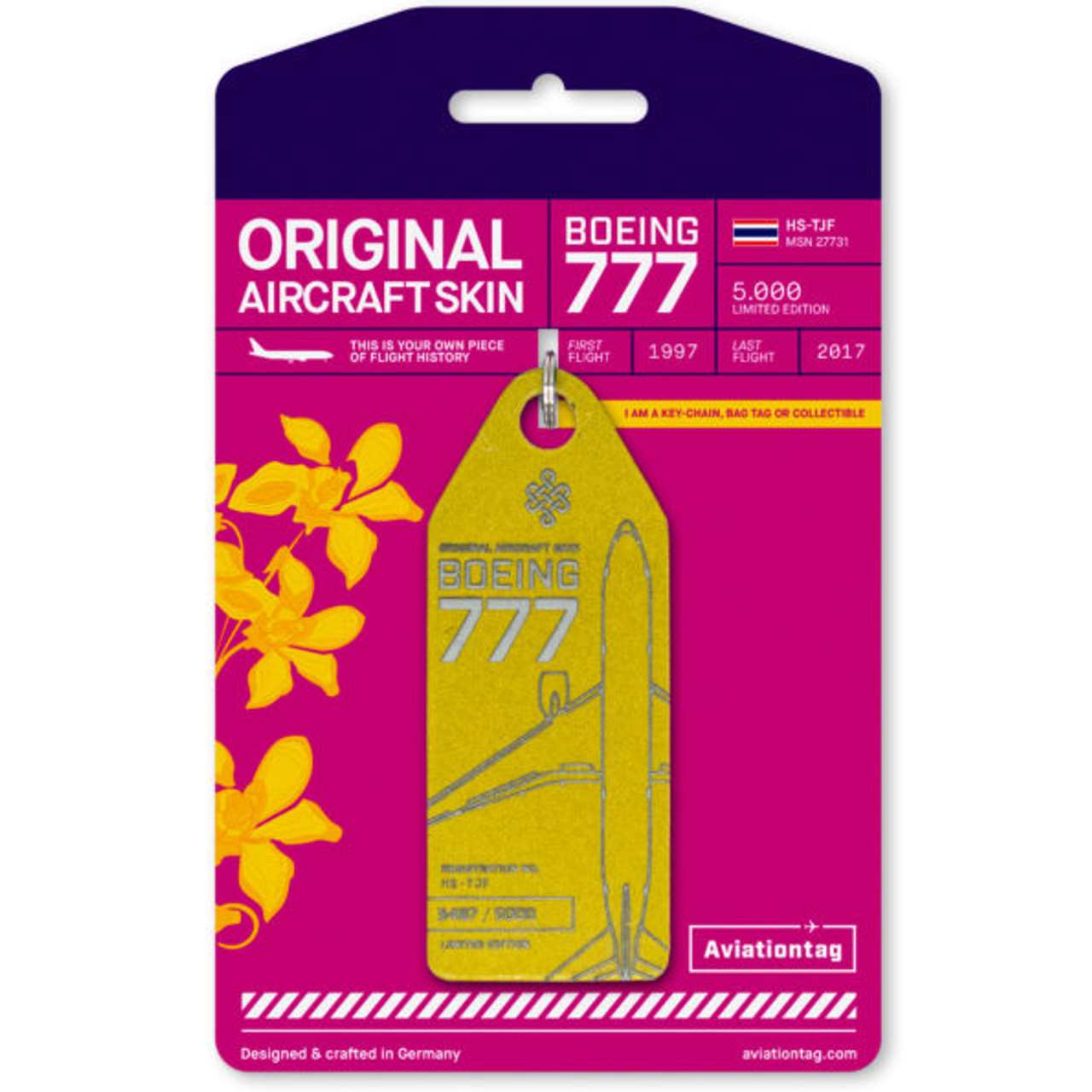 AviationTag Boeing 777-200 Keychain  - HS-TJF - Yellow