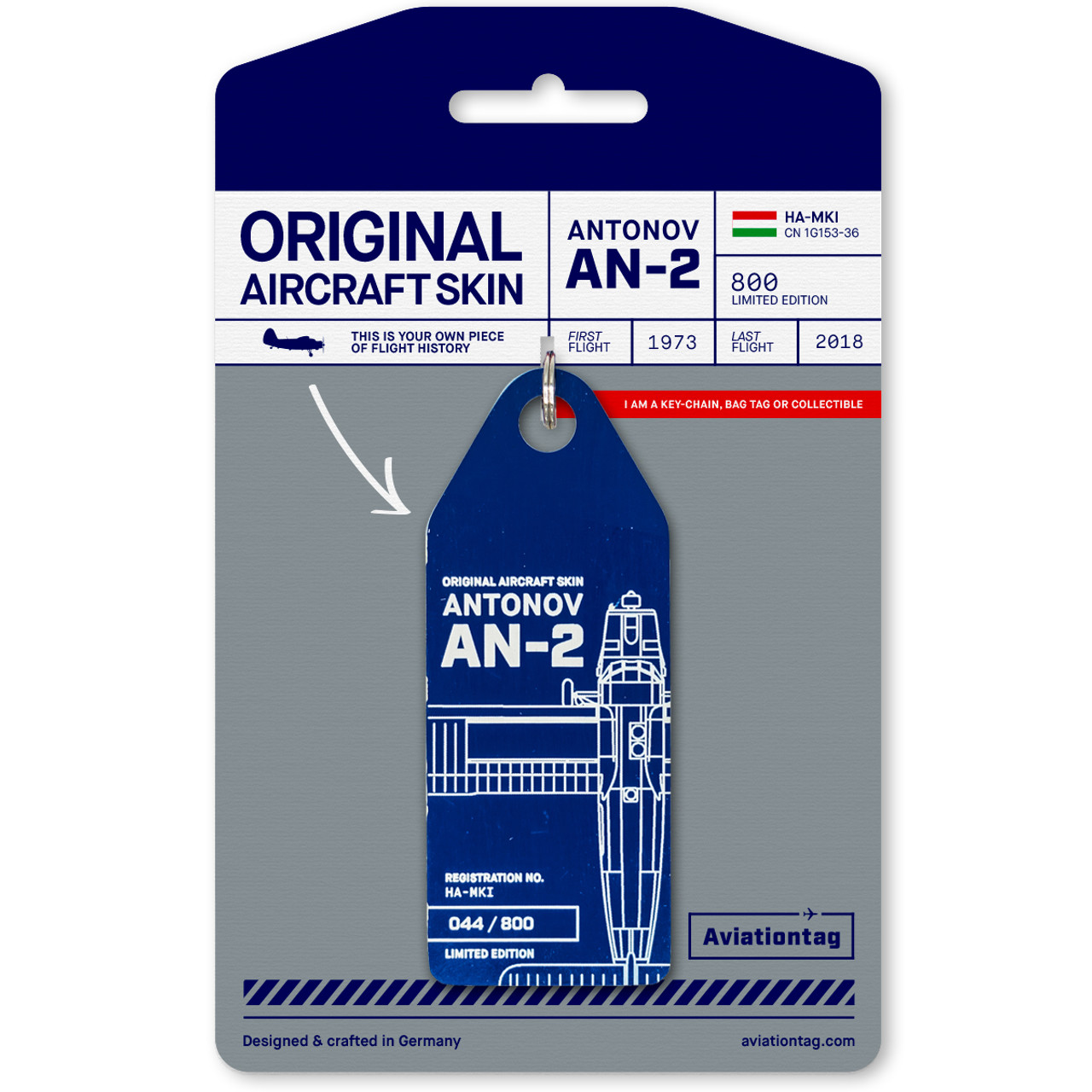 AviationTag Antonov AN-2 Keychain -HA-MKI