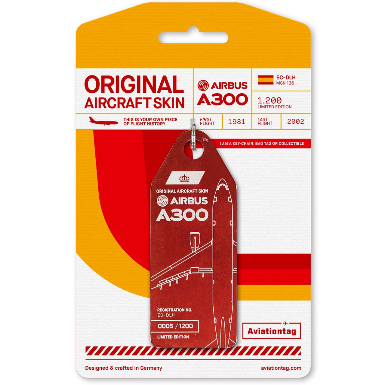 AviationTag Airbus A300 Keychain  -  Red