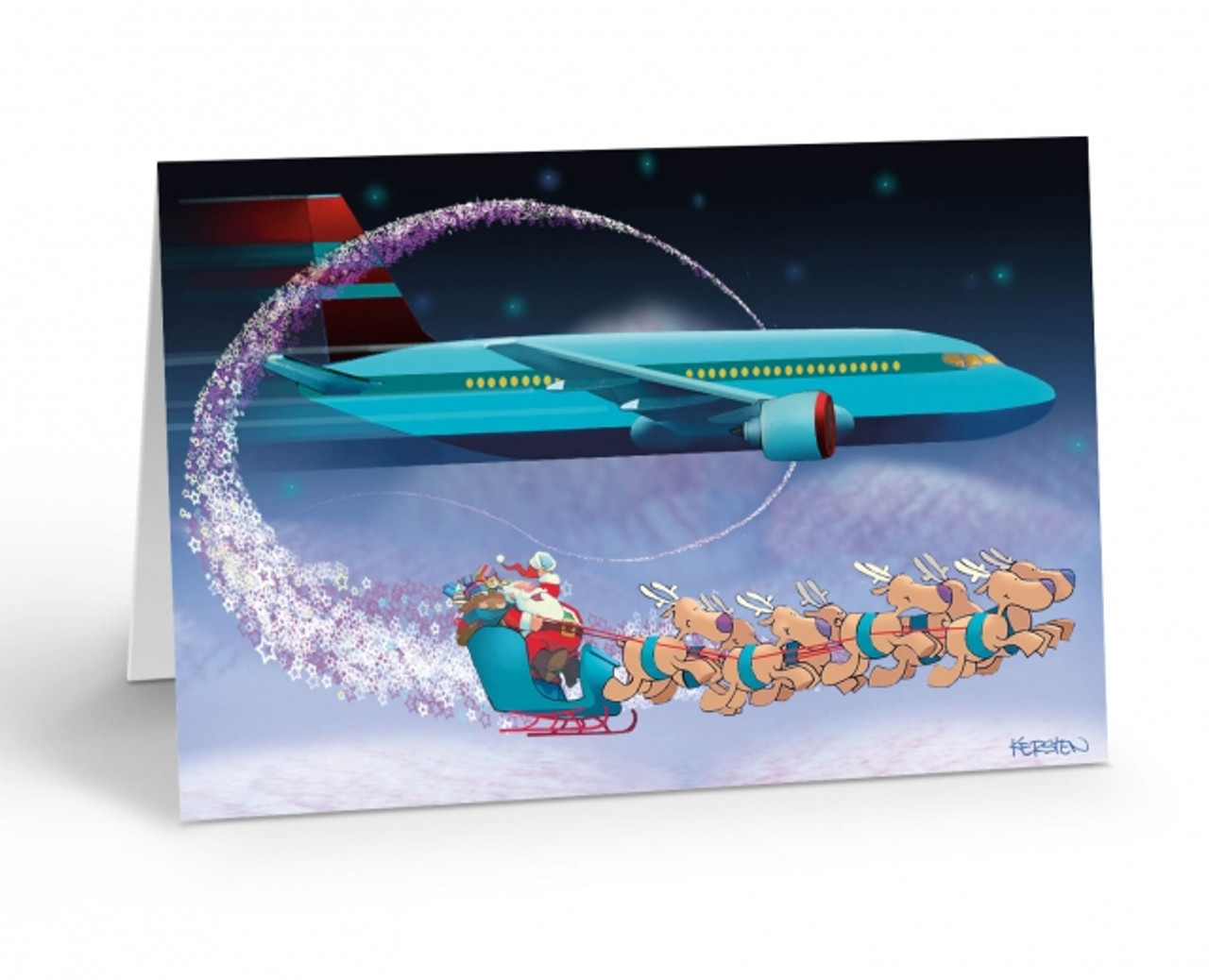 """Airline Fly By"" Christmas Card Pack"
